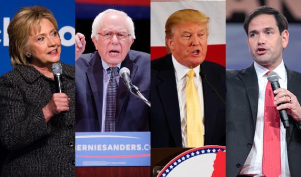 Clinton, Sanders, Trump and Rubio
